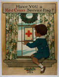"Books:Prints & Leaves, [WWI]. Jessie Willcox Smith. Fantastic Color Lithograph WWI RedCross Poster ""Have You a Red Cross Service Flag?"", Circa 1918...."