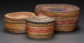 American Indian Art:Baskets, THREE MAKAH POLYCHROME TWINED TRINKET BASKETS. c. 1900. ... (Total:3 Items)