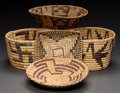 American Indian Art:Baskets, FIVE PAPAGO COILED BASKETS... (Total: 5 Items)