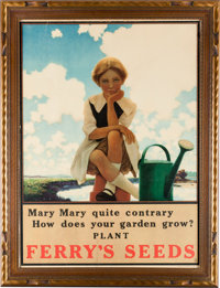 """Maxfield Parrish: Mary, Mary Quite Contrary Print, 1921, Advertising Ferry's Seeds, 20.5"""" x"""
