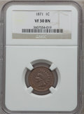 Indian Cents, 1871 1C VF30 Brown NGC. NGC Census: (23/429). PCGS Population(27/469). Mintage: 3,929,500. Numismedia Wsl. Price for probl...