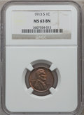Lincoln Cents: , 1913-S 1C MS63 Brown NGC. NGC Census: (43/32). PCGS Population(54/38). Mintage: 6,101,000. Numismedia Wsl. Price for probl...
