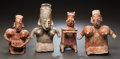 Pre-Columbian:Ceramics, FOUR FIGURES - THREE JALISCO AND ONE NAYARIT. c. 200 BC - 200 AD...(Total: 4 Items)
