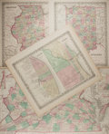 """Books:Maps & Atlases, [Antique Maps] Lot of Four Colored United States Maps, Circa 1855. 15"""" x 18"""", one large folded example 27.5"""" x 17"""". Removed ..."""