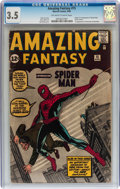 Silver Age (1956-1969):Superhero, Amazing Fantasy #15 (Marvel, 1962) CGC VG- 3.5 Off-white to whitepages....