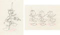 Animation Art:Production Drawing, Donald Duck, Huey, Dewey, and Louie Production Drawing Group (WaltDisney, c. 1950s).... (Total: 2 Items)