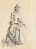 Texas:Early Texas Art - Drawings & Prints, Attributed to ROBERT JENKINS ONDERDONK (American, 1853-1917).Portrait of a Seated Woman. Pencil on paper . 11-1/2 x8-1...