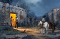 Paintings, J.W. THRASHER (American, b. 1940). The Confrontation. Oil on canvas. 24 x 36 inches (61.0 x 91.4 cm). Signed lower left:...