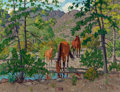 Texas:Early Texas Art - Regionalists, FRED DARGE (American, 1900-1978). Watering at the Spring, DawsonRanch, Presidio County, Texas. Oil on artists' board. 9...