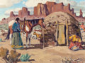 Texas:Early Texas Art - Regionalists, FRED DARGE (American, 1900-1978). Navajo Home, NorthernArizona. Oil on artists' board. 9 x 12 inches (22.9 x 30.5 cm)....