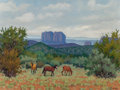 Texas:Early Texas Art - Regionalists, FRED DARGE (American, 1900-1978). A Gray Day, Sedona,Arizona. Oil on artists' board. 9 x 12 inches (22.9 x 30.5 cm).Si...