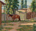 Texas:Early Texas Art - Regionalists, FRED DARGE (American, 1900-1978). Horse by an Adobe. Oil oncanvas board. 10-1/4 x 12 inches (26.0 x 30.5 cm). Signed lo...