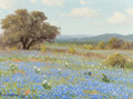 Paintings, PORFIRIO SALINAS (American, 1910-1973). Country Scene with Bluebonnets and Tree. Oil on canvas. 9-1/2 x 12 inches (24.1 ...