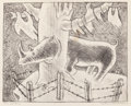 Texas:Early Texas Art - Drawings & Prints, KATHLEEN BLACKSHEAR (American, 1897-1988). Tree and Rhino.Pencil on paper. 11-1/2 x 16-7/8 inches (29.2 x 42.9 cm) (she...