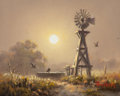 Texas:Early Texas Art - Regionalists, DALHART WINDBERG (American, b. 1933). Windmill at Sunset.Oil on panel . 1 x 1-1/2 inches (2.5 x 3.8 cm). Signed lower r...
