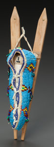 American Indian Art:Beadwork and Quillwork, A CHEYENNE BEADED HIDE CRADLEBOARD. c. 1914...