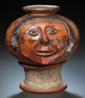 Pre-Columbian:Ceramics, A LARGE PANAMA VESSEL IN FORM OF HUMAN HEAD. c. 400 - 900 AD...(Total: 2 Items)