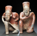 "Ceramics & Porcelain:PreColumbian Ceramics, TWO JALISCO ""THINKERS"". c. 200 BC - 200 AD... (Total: 2 )"