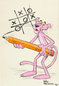 Animation Art:Production Drawing, Pink Panther Illustration Signed by Friz Freleng (DePatie-Freleng,1977)....