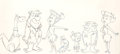 Animation Art:Production Drawing, The Flintstones Size Comparison Illustration (Hanna-Barbera, 1965)....