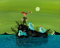 Animation Art:Concept Art, Mary Blair Peter Pan Peter with Neverland Mermaids Concept Painting (Walt Disney, 1955)....
