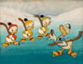 Animation Art:Production Cel, The Hockey Champ Donald Duck with Huey Dewey and LouieProduction Cel Set-Up with Courvoisier Background (Walt Disney,...