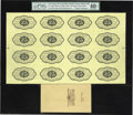 Fractional Currency:First Issue, Fr. 1282 Milton 1E25R.1 25¢ First Issue Uncut Sheet of Sixteen Backs PMG Extremely Fine 40 EPQ....
