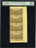 Fractional Currency:First Issue, Fr. 1280 25c First Issue Vertical Strip of Four PMG About Uncirculated 55 EPQ. ...