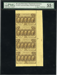 Fr. 1280 25¢ First Issue Strip of Four PMG About Uncirculated 55 EPQ