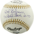 Autographs:Baseballs, Bob Gibson Single Signed Gold Glove Award Baseball. member ofBaseball's Hall of Fame, played his entire major league caree...
