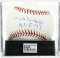 "Autographs:Baseballs, Phil Niekro ""H.O.F. '97"" Single Signed Baseball, PSA Mint+ 9.5.Knuckleballer Phil Niekro pitched in the majors until the ri..."