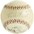 "Autographs:Baseballs, Circa 1934 Babe Ruth & Dean Brothers Signed Baseball.Depression-era ""Official League Ball"" joins the game's premierslugge..."