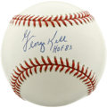 "Autographs:Baseballs, George Kell ""HOF 83"" Single Signed Baseball. Sparkling white OAL(Budig) baseball wears the signature and Hall of Fame indu..."