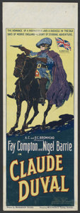 "Movie Posters:Adventure, Claude Duval (Gaumont British, 1924). Pre-War Australian Daybill(15"" X 39.75""). Adventure. ..."