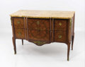 Decorative Arts, French, A Louis XV Style Marble Top Commode . . 19th Century. 35-1/2x 49 x 24 inches (90.2 x 124.5 x 61.0 cm). ...