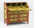 Decorative Arts, Continental, A Venetian Paint Decorated Drop Front Desk. Late 19th century.39-1/2 x 42 inches (100.3 x 106.7 cm). ...
