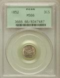 Three Cent Silver: , 1852 3CS MS66 PCGS. PCGS Population (97/14). NGC Census: (100/14).Mintage: 18,663,500. Numismedia Wsl. Price for problem f...