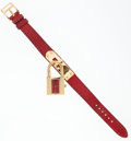 Luxury Accessories:Accessories, Hermes Rouge Vif Lizard Kelly Watch with Gold Hardware. ...