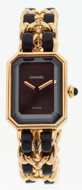 Luxury Accessories:Accessories, Chanel Premiere Ladies Watch with Classic Gold Chain and LeatherStrap Size M. ...