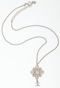 Luxury Accessories:Accessories, Chanel Silver & Gold Rhinestone Necklace with CC Charm. ...