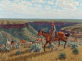 Texas:Early Texas Art - Regionalists, FRED DARGE (American, 1900-1978). The Remunda Round-Up. Oilon canvas . 17-1/2 x 23-1/2 inches (44.5 x 59.7 cm). Signed ...