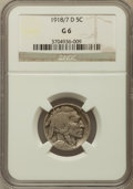 Buffalo Nickels, 1918/7-D 5C Good 6 NGC. FS-101....