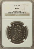 Bust Half Dollars: , 1825 50C XF45 NGC. NGC Census: (115/801). PCGS Population(167/823). Mintage: 2,900,000. Numismedia Wsl. Price for problem...