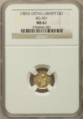 California Fractional Gold: , (1853) $1 Liberty Octagonal 1 Dollar, BG-501, Low R.5, MS61 NGC.NGC Census: (0/2). PCGS Population (2/11)....