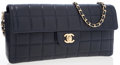 Luxury Accessories:Bags, Chanel Navy Quilted Lambskin Leather East West Flap Bag with GoldHardware. ...