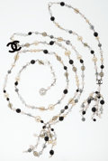 Luxury Accessories:Accessories, Chanel Silver, Faux Pearl & Beaded Necklace & Belt Set. ...