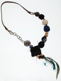 Luxury Accessories:Accessories, Marni Teal, Black & Brown Leather, Feather and Chain Necklace....