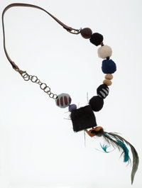 Marni Teal, Black & Brown Leather, Feather and Chain Necklace