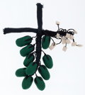 Luxury Accessories:Accessories, Marni Black & Green Olive Branch Fabric Pin. ...
