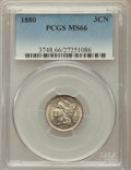 1880 3CN MS66 PCGS. PCGS Population (54/32). NGC Census: (42/5). Mintage: 21,000. Numismedia Wsl. Price for problem free...